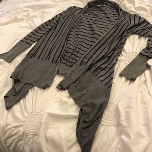 Caslon Nordstrom Grey and Black Stripped Cardigan